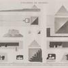 Pyramides de Memphis. 1-8. Plan et élévation de la 2-e pyramide, plans et coupes d'un hypogée à l'ouest et d'un autre à l'est; 9.10. Plan et élévation de la 3-e pyramide, de l'édifice de l'est et d'une grande chaussée; 11-14. Plans et élévation de la 4-e pyramide et d'une pyramide à dégrés; 15.16. Tombeau pyramidal à l'ouest de la Grande Pyramide.