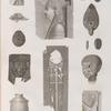 Collection d'antiques. 1.4.13.14. Fragmens de bas-reliefs; 2.3.7.8. Amulettes en forme de scarabée et autres; 5.6.12. Lampes et vase; 9.11. Masque et tête en bois; 10. Tunique.