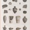 Collection d'antiques. 1-3.6.7.10.11.17.20. Vases antiques de la Haute Égypte; 8.16. Autres vases; 4.5.9.12. Verres colorés et porcelaine antiques; 13-15.18.19. Pots de momie et lampes trouvés à Saqqârah, Thèbes et Denderah.