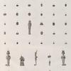 Collection d'antiques. 1.3-18. Pierres gravées en améthyste, jaspe, agathe, cornaline, lapis-lazuli et grenat; 2. en verre; 19.20.23-36. Amulettes en scarabée et autres; 21.22.37-46. Figures en terre cuite, en bois et en bronze.