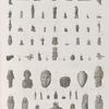 Collection d'antiques. 1-19.21.27.29.30.32.34.36.38-41.43.46.48.49.51.62.64.65. Figures en terre cuite; 20. en marbre; 28.31.35.37.44.45. Amulettes; 42.47. en pierre; 49. en serpentine; 50.63. Vase et lampe en terre cuite.