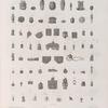 Collection d'antiques. 1.2.7-31.33-36.38.39.41.44.46.47.49.52-65.68-70. Amulettes en terre cuite; 3.6.45.51. Amulettes en forme de scarabée; 4.5. Figure en terre cuite; 32.37.48.50. Fragmens à fond de couleur émaillé, et verres colorés avec hiéroglyphes en blanc; 40. en bronze; 66.67. Pierres gravées, trouvées en Syrie.