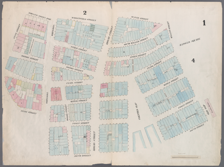 [Plate 1: Map bounded by Battery Place, Marketfield Street, Broad Street, Beaver Street, Old Slip, South Street, Coenties Slip, South Street, Whitehall Street, State Street.]