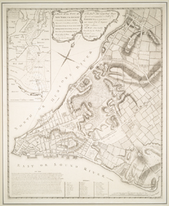 A plan of the city of New-York & its environs : to Greenwich, on the North or Hudsons River, and to Crown Point, on the East or Sound River, shewing the several streets, publick buildings, docks, fort & battery, with the true form & course of the commanding grounds, with and without the town : survey'd in the winter, 1775 [i.e. 1766] / John Montresor, engineer ; P. Andrews, sculp.