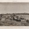 Minyeh [Minyâ]. Vue de la ville et de la chaine arabique, prise du couchant.