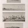 Égypte Moyenne. 1. Vue de Beny-Soueyf [Banî Suwayf]; 2-4. Vue de Myt-Rahyneh [Mît Ruhaynah] et de plusieurs points des bords du Nil.