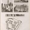 Alexandrie [Alexandria]. 1-3. Vues du Chateau du Phare et du rocher du Diamant; 4.5. Plan et élévation du Chateau du Phare.