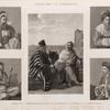 Costumes et portraits. 1. L'Emir Hâggy [Amir al-Hajj]; 2. Habitans de l'oasis et du Mont Sinaï; 3. Le Cheykh Sâdât; 4. Le joueur de violon; 5. Habitant de Damas [Damascus].