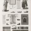Vases, meubles et instrumens. 1.2. Tunique de bain; 3. Robe d'almé en soie; 4. Borqó; 5.6. Mouchoirs; 7.8. Milâyeh; 9.10. Seggadeh; 11. Patin de bain; 12-19. Sandales; 20.21. Charrue.