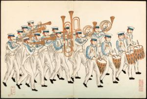 A marching band of Russian sailors.
