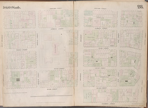 [Plate 28: Map bounded by Leonard Street, Centre Street, Chambers Street, Broadway, Reade Street, West Broadway.]
