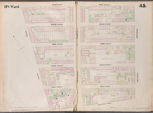 [Plate 45: Map bounded by Fifth Street, First Avenue, Houston Street, Bowery.]
