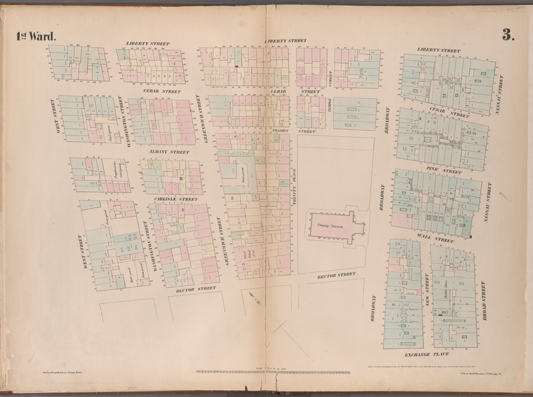 [Plate 3: Map bounded by Liberty Street, Nassau Street, Broad Street, Exchange Place, Broadway,  Rector Street, West Street .]