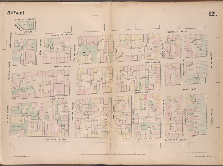 [Plate 12: Map bounded by Chatham Street, East Broadway, Chatham Square, Catherine Street, South Street, Roosevelt Street.]