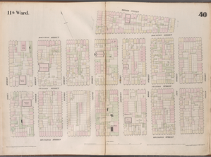 [Plate 40: Map bounded by Houston Street, Avenue B, Second Street, Pitt Street, Houston Street, Willet Street, Rivington Street, Essex Street.]