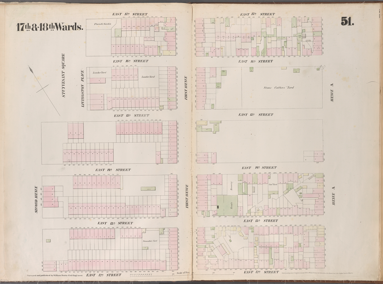 [Plate 51: Map bounded by East 15th Street, Livingston Place, East 17th Street, Aveneu A East 12th Streeet, Second Avenue.]