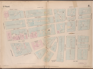 [Plate 4: Map bounded by Liberty Street, Maiden Lane, South Street, Old Slip, William Street, Exchange Place, Broad Street, Nassau Street