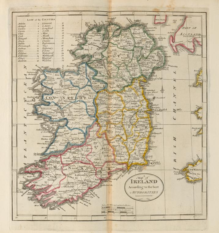 A map of Ireland according to the best authorities.