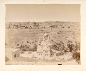 [View of Old City of Jerusalem and the Church of St. Mary Magdalen.]