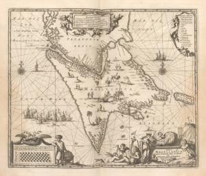 Tabula Magellanica Qua Tierrae Del Fuego, Cum celeberrimis fretis a F. Magellano et I. Le Maire detectis Noviss. et accuratissim descript. Exhibetur
