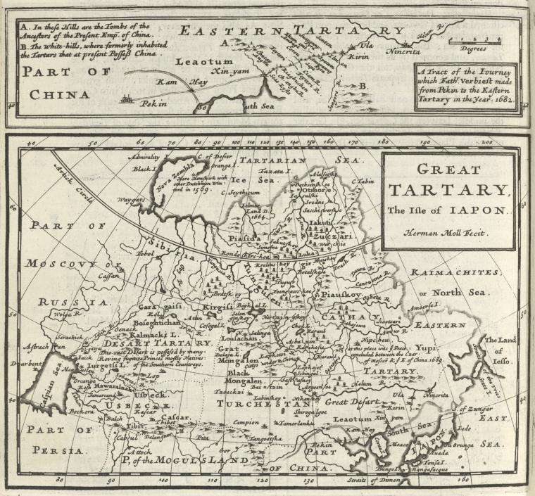 This is What Herman Moll and Part of China (a tract of the journey which Father Verbieft made from Pekin to the Eastern Tartary in the year 1682) ; Great Tartary the Isle of Japon Looked Like  in 1701