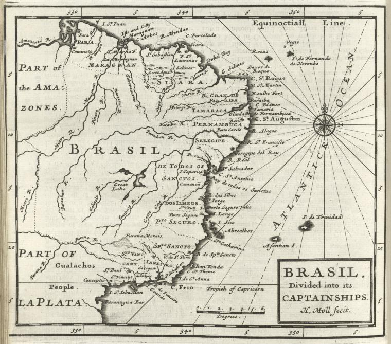Brasil, divided into its captainships.