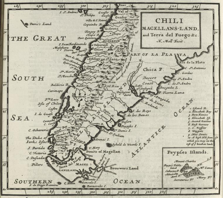 This is What Herman Moll and Chili Magellans-land and Terra del Fuego &c Looked Like  in 1701