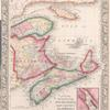 County map of Nova Scotia, New Brunswick, Cape Breton, and Prince Edward's Islands; City and harbor of Halifax [inset].