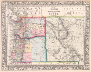 Map of Oregon, Washington and part of Idaho.