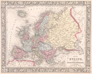 Map of Europe, showing its gt. political divisions.