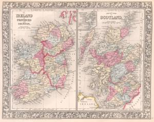County map of Scotland ; Shetland Islands [inset] ; Ireland in provinces and counties.