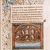 Miniature of the Ark, with humans and animals on board.  Partial border, initials, rubrics.