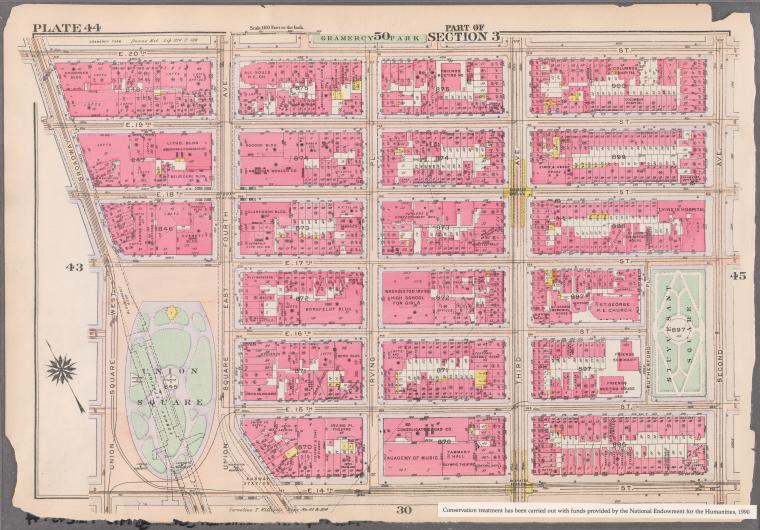 [Plate 44: Bounded by E. 20th Street [Gramercy Park], Second Avenue, E. 14th Street, Union Square, and West Broadway.]
