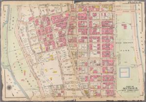 [Plate 46: Bounded by W. 181st Street, Broadway, W. 182nd Street, Amsterdam Avenue, W. 170th Street, and Hudson River (Fort Washington Park).]