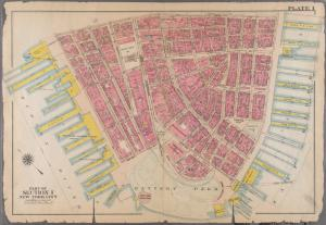 [Plate 1: Bounded by Liberty Street, Maiden Lane, [East River, Piers 1-14] South Street, Battery Park, and [Hudson River, Piers 2-37] West Street.]