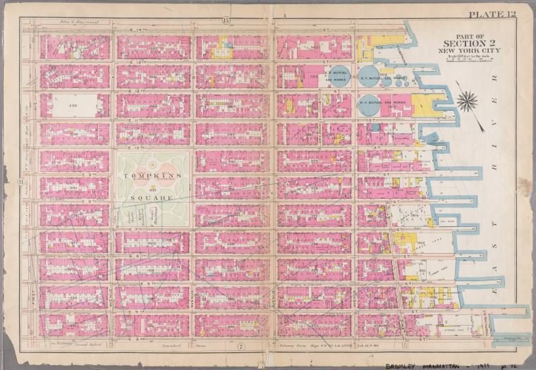 [Plate 12: Bounded by E. 14th Street, Tompkins Street [East River, Piers 63-72], E. 3rd Street, and First Avenue.]