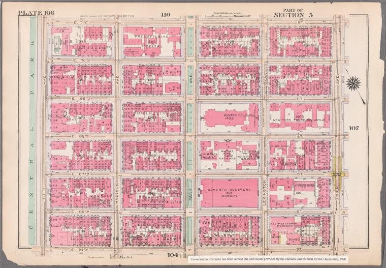 [Plate 106: Bounded by E. 71st Street, Third Avenue, E. 65th Street and (Central Park) Fifth Avenue.
