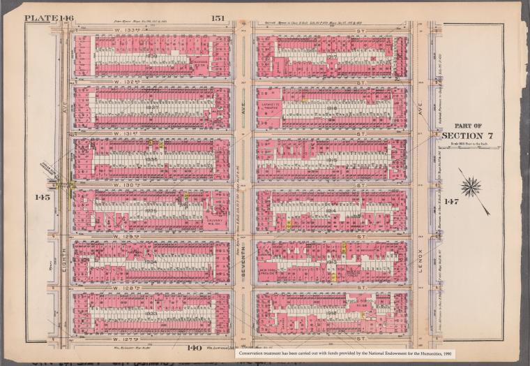 [Plate 146: Bounded by W. 133rd Street, Lenox Avenue, W. 127th Street and Eighth Avenue.]