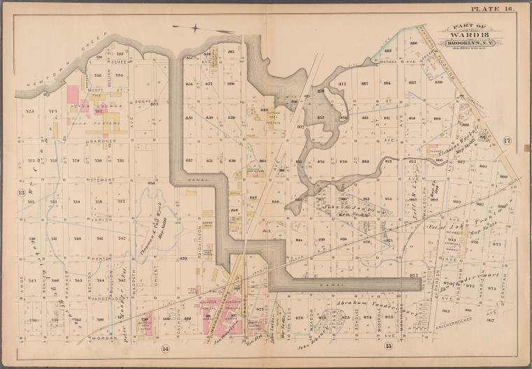 [Plate 16: Bounded by (Newtown Creek) Seneca Avenue, Flushing Avenue, Grattan Street, Knickerbocker Avenue, Morgan Avenue, Amos Street, Gardner Avenue, Maspeth Avenue, Scott Street and Bullion Street.]