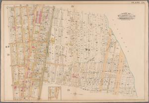 [Plate 24: Bounded by Saratoga Avenue, Butler Street, Howard Avenue, Degraw Street, Ralph Avenue, Eastern Park Way, Rochester Avenue, Atlantic Avenue, Utica Avenue, Fulton Street, Reid Avenue and Chauncey Street. (includes sub-plan: Chauncey Ave. - Fulton St. - Stuyvesant Avenue.]