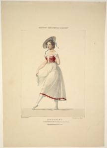 Mlle. Noblet. In the ballet of La paysanne supposée. King's Theatre. Drawn by M. Waldeck. Printed by Rowney & Forster.