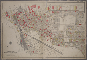 [Plate 1: Bounded by (East River) River Street, Dock Street, Front Street, Hunterspoint Avenue, West Avenue, Vernon Avenue, Freeman Avenue, Jackson Avenue, Thomson Avenue, Upton Street, Mott Avenue, Creek Street, Borden Avenue, Vernon and Flushing Street.]