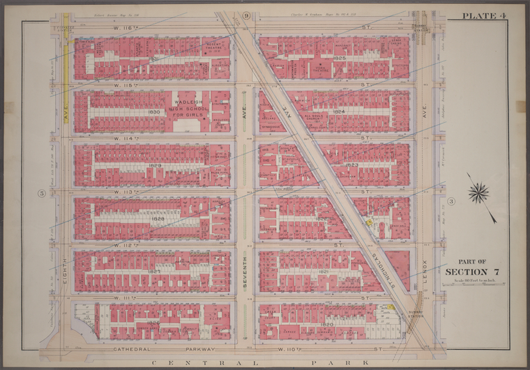 [Plate 4: Bounded by W. 116th Street, Lenox Avenue, W. 110th Street, Cathedral Parkway and Eighth Avenue.]