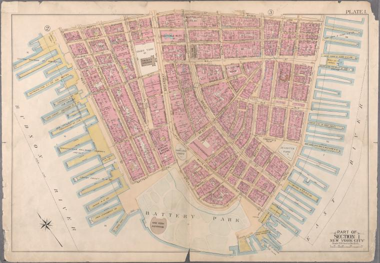 [Plate 1: Bounded by Liberty Street, Maiden Lane, South Street [East River, Piers 1-18], White Hall Street, State Street (Battery Park), Battery Place,and (Hudson River, Piers A, 1-14) West Street.]