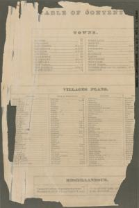 Table of Contents: Towns - Village Plans - Miscellaneous.