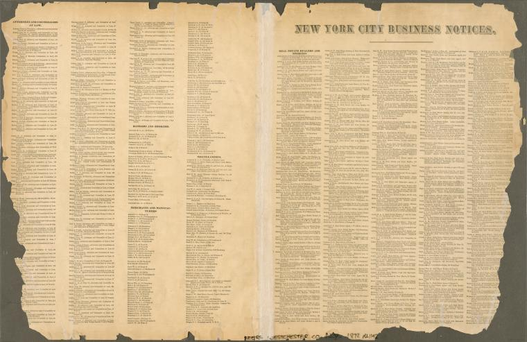 New York City Business Notices -- List of Attorneys, Bankers &c.