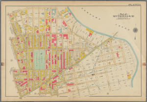 Plate 13: [Bounded by Calyer Street, Front Street (Newtown Creek), Bridgewater Street, Meeker Avenue, Gardiner Avenue, Townsend Street, Scott Avenue, Division Place, Gardiner Avenue, Amos Street, Morgan Avenue, Division Place, Kingsland Avenue, Herbert Street, N. Henry Street, Meeker Avenue, Graham Avenue, Driggs Street, Newell Street, Norman Avenue and Diamond Street.]