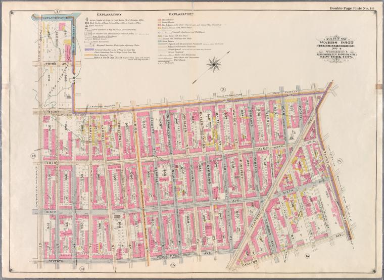 Double Page Plate No. 14: [Bounded by (Gowanus Canal) Third Avenue, First Street, Fourth Avenue, Atlantic Avenue, Carlton Avenue, Flatbush Avenue, Seventh Avenue and Third Street.]