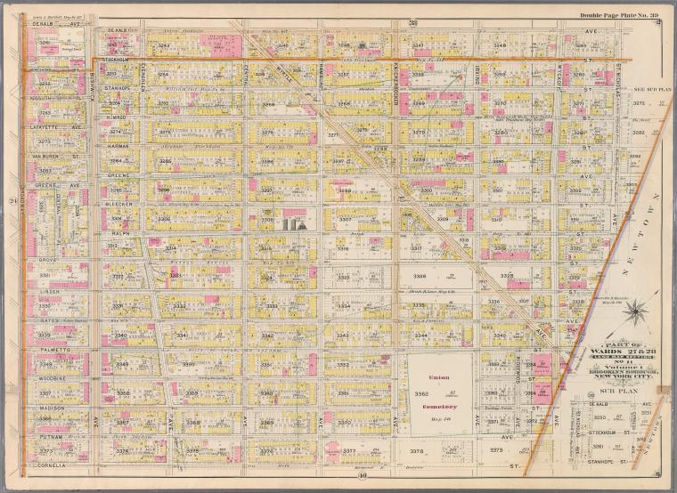 Double Page Plate No. 39: [Bounded by Dekalb Avenue, Cypress Avenue, Stanhope Street, St. Nicholas Avenue, Grove Street, Wyckoff Avenue, Cornelia Street and Broadway.]