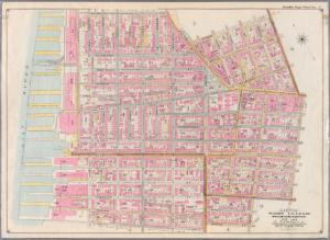 Double Page Plate No. 2: [Bounded by Clark St., Fulton St., Johnson St., Bridge St., Hoyt St., Bergen St., Smith St., Warren St., Court St., Baltic St., (East River Piers  Columbia St., Atlantic St. and Furman St.]